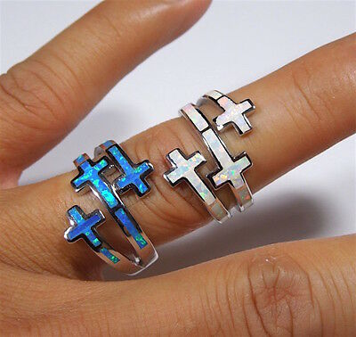 Opal Solid Cross (Blue or White Fire Opal Solid 925 Sterling Silver Cross Ring Size 6,7,8,9,10 )