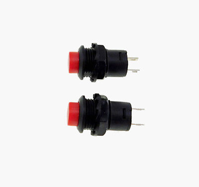 2 Pack SPST Normally Open Momentary Push Button Switch Red    32731R