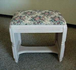 Antique Carved All wood Vanity Bench