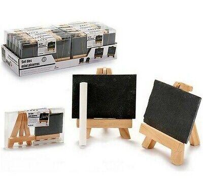2 mini Pizarras (7,8 x 5,4 x 2cm)soporte caballete madera de pino(7,4x9...