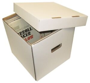 5-BCW-33RPM-BOX-12-Vinyl-Record-65-Count-White-LP-Storage-Box-Case-Holder