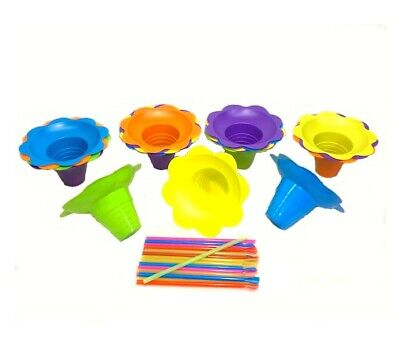 24 Large 8 Oz Flower Cups Spoon Straws Kit For Snow Cone Shaved Ice Machine