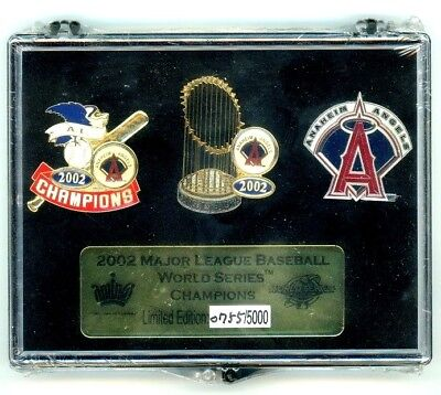 Angels 2002 World Series Champions 3 Pin Set Anaheim Los Angeles LE 5,000 (Angels 2002 World Series)