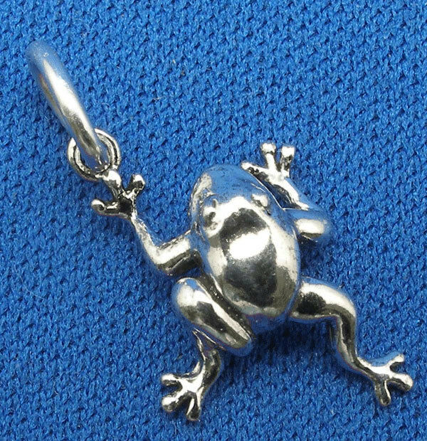 Frog Charm, bracelet, necklace pendant, hand crafted sterling silver