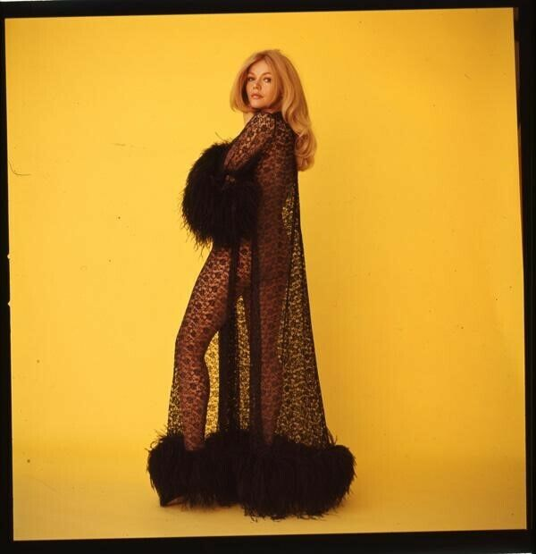 Karen Jensen Exotic Vivid Color Pin Up in negligee Original 2 1/4 Transparency