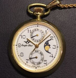 Eagle Star Swiss made pocket watch with day & date & moon dial