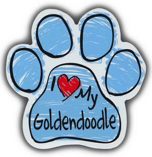 Scribble Paw Dog Magnets: I LOVE MY GOLDENDOODLE | Cars, Trucks, Refrigerators