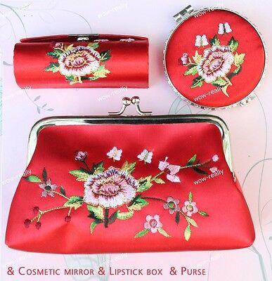 Pretty Women's Red Cosmetic Case Makeup Bag Pouch RIBBON PENCIL CASE Mirror