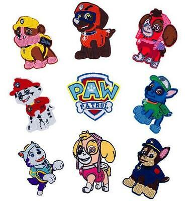 """PAW PATROL PATCH Set Of 9 Embroidered 3"""" Tall Sew/Iron On Pa"""