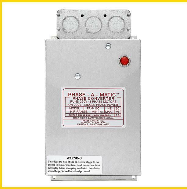 PAM-100HD -  1/3 - 3/4 HP - 220 VAC - PHASE-A-MATIC PHASE CONVERTER