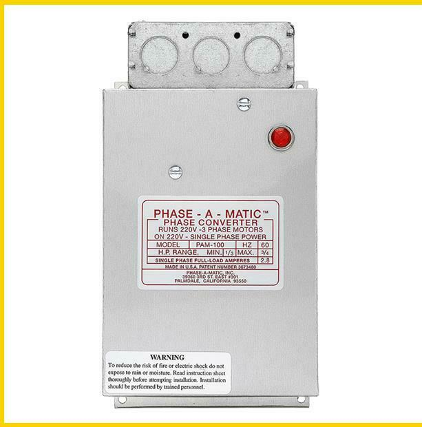 PAM-100 -  1/3 - 3/4 HP - 220 VAC - PHASE-A-MATIC PHASE CONVERTER