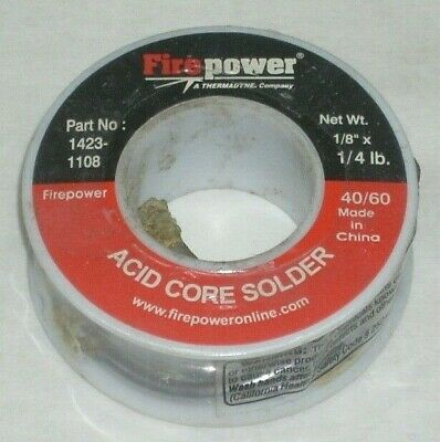 Victor Firepower 1423-1108 Acid Core Solder 4060 18 Diameter 14 Lb Roll