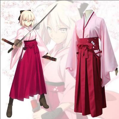 Anime Fate Okita Souji Cosplay Sakura Kimono Damen - Okita Souji Cosplay Kostüm