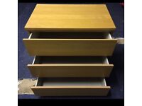 Chest of 3 malms drawers from ikea