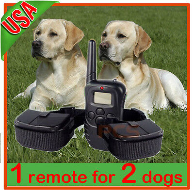 NEW LCD 100LV Level SHOCK&VIBRA REMOTE PET DOG TRAINING COLLAR For 2 Dogs on Rummage