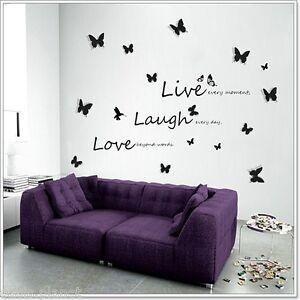 Pegatinas pared palabras live laugh mariposas 3d para for Pegatinas habitacion nina