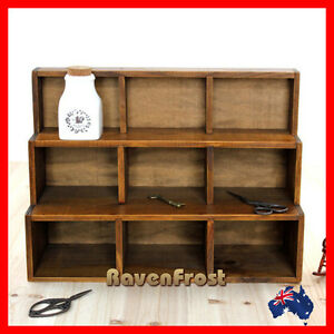 Timber Wall Shelf Step Display Cabinet Unit Wooden Retro Storage Spice Rack NEW