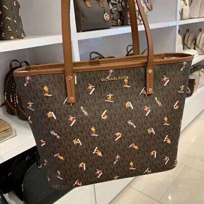 NWT Michael Kors  ASPEN MD TZ-Zip-Top  Leather Tote Bag BROWN MULTI
