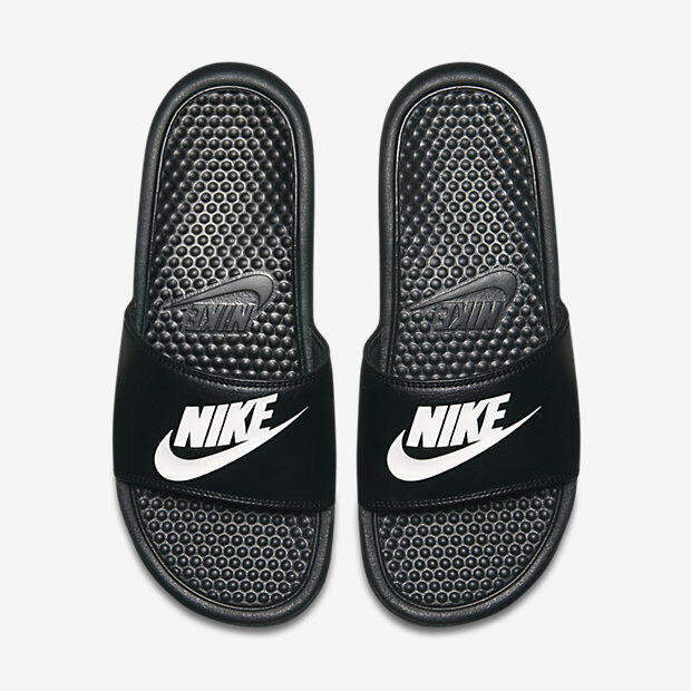 NWT Nike Benassi JDI Black white Men's Slides slide 8 9 10 11 12 13 flip  flop