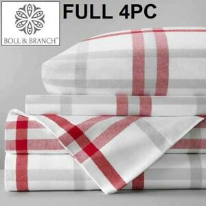 NEW BOLL  BRANCH 4PC BED SHEET SET 244047373 FULL FLANNEL  RED MODERN PLAID