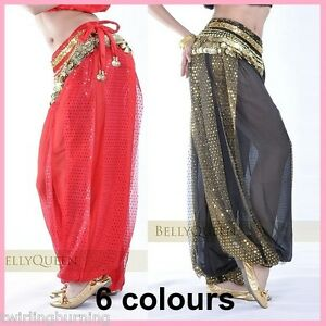 AU-Sz-8-18-Belly-Dance-Harem-Pants-Chiffon-Sparkling-Dots-Bollywood-Costume-AP06