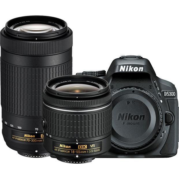 Nikon D5300 24.2MP DSLR Camera Two Lens Kit w/ AF-P 18-55mm VR & 70-300mm (1579)