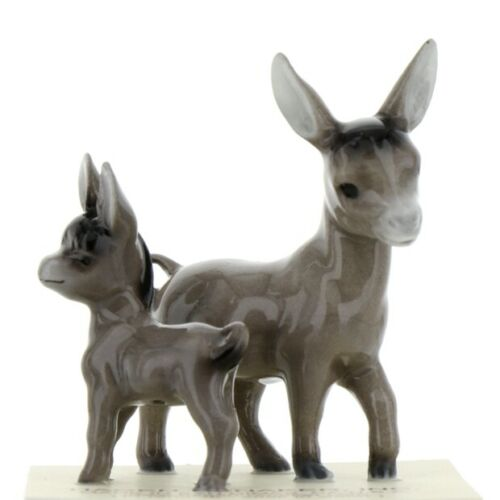 Hagen Renaker Miniature Farm Burro Donkey Mama and Baby Ceramic Figurine Set