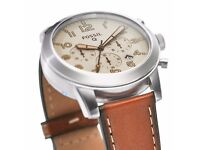 FOSSIL Q54 PILOT LIGHT BROWN LEATHER SMARTWATCH BOXED WITH PAPERS