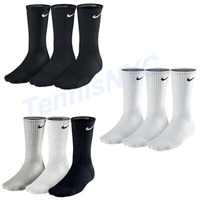 - NIKE 3 Pack Crew Cushioned Tennis Socks Running Golf Unisex M & L  SX4700