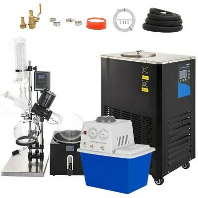 5l Rotary Evaporator With Vacuum Pump Chiller 0-90rpm Accurate Lcd Screen