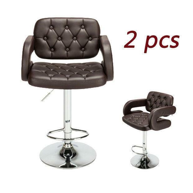 Set of 2 PU Leather Swivel Bar Stools Hydraulic Pub Chair Adjustable Coffee New