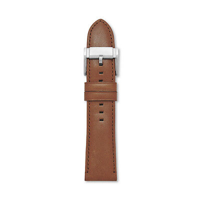 NEW-FOSSIL SOLID BROWN 24MM LEATHER WATCH STRAP,BAND+SILVER BUCKLE-S241063