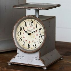 LARGE VINTAGE RETRO COUNTRY FARM STYLE  KITCHEN SCALE COUNTER CLOCK