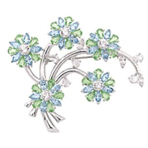 Fifth Avenue Collection - Blue Topaz & Swarovski Crystal Brooch