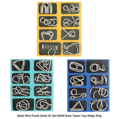 Metal Wire Puzzle Game IQ Test MIND Brain Teaser Toys Magic Ring Gift A+B+C Mind Teaser Puzzles