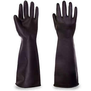 Pair-Elbow-Length-Marigold-Industrial-Heavyweight-Rubber-Latex-Gauntlet-Gloves