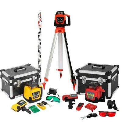 500m Self-leveling Rotary Grade Laser Level W Tripod And 16 Rod Inch Redgreen