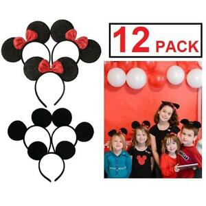 NEW 12PK MICKEY MINNIE MOUSE EARS 229677159 KIDS ADULTS HEADBANDS BIRTHDAY PARTY COSTUME RED SEQUINS