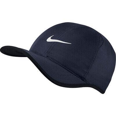 3975aa33786ec NIKE Men FeatherLight Tennis Running Hat Swoosh Dri-Fit Obsidian 679421-454