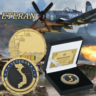 WR Vietnam War Veteran Gold Foil Challenge Coin For Collection In The Box War Veteran Challenge Coin
