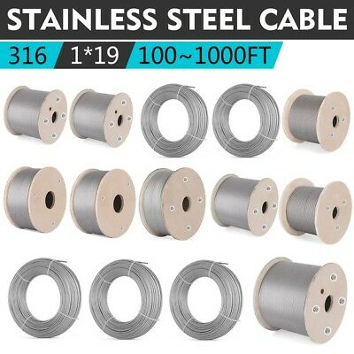 T316 Stainless Steel Cable Wire Rope1x19 1002003005007001000ft