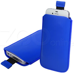 BLUE PU LEATHER PULL-UP POUCH COVER CASE SLEEVE FOR SAMSUNG CHAT CH@T 222 PHONE