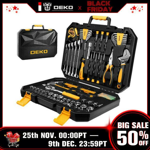 DEKOPRO 128 Pieces Tool Set Auto Repair General Household Hand Tool Kit