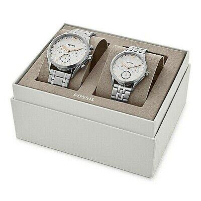 NWT Fossil Couple Watch His & Her Silver Bracelet FENMORE BQ2468 BQ2468SET $265