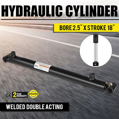 Hydraulic Cylinder Welded Double Acting 2.5 Bore 18 Stroke Cross Tube New