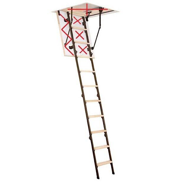 4 section foldable wooden/metal loft ladder treads/steps ...