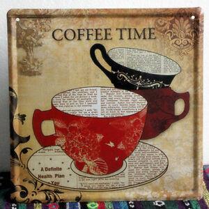 vintage coffee time metal sign home kitchen wall decor tin cafe poster ld468 ebay. Black Bedroom Furniture Sets. Home Design Ideas