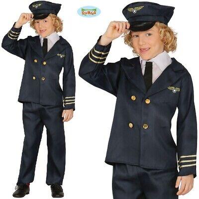 Childs Airline Pilot Fancy Dress Costume Jet Aeroplane Pilot Outfit New fg - Airplane Fancy Dress