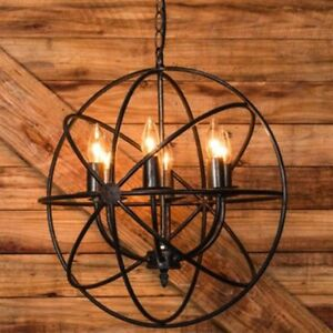 Metal Chandelier with 6 Lights, 18.5-Inch Round