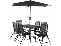 Milan 6 chair and table set with parasol